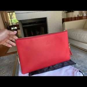 GUCCI , Large Tassel Red Leather Clutch